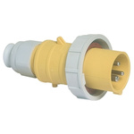 Bals IP67 Yellow Cable Mount 2P+E Industrial Power Plug, Rated At 16.0A, 110.0 V