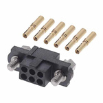M80 Connector Kit Containing 6 Barrel Crimp Contacts Loose, Crimp Shell, Housing with Hexagonal Slotted Jackscrews