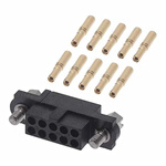 M80 Connector Kit Containing 10 Barrel Crimp Contacts Loose, Crimp Shell, Housing with Hexagonal Slotted Jackscrews