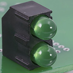 Bivar H201CBC, Green & Red Right Angle PCB LED Indicator, 2 LEDs 3mm (T-1), PCB Mount