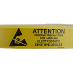 SCS Black, Yellow Paper ESD Label, Observe Precautions for Handling Electrostatic Sensitive Devices-Text 16 mm x 51mm