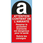 Brady Black/Red/White PET Safety Labels, Danger Amiante-Text