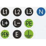 TE Connectivity Black Vinyl Safety Labels 16 mm x 16mm