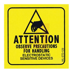SCS Yellow Gloss Paper (Face), Kraft (Liner) ESD Label, Attention-Observe Precautions For Handling Electrostatic