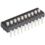 10 Way Through Hole DIP Switch SPST, Extended, Slide Actuator