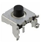 Black Cap Tactile Switch, Single Pole Single Throw (SPST) 50 mA 2.7mm Through Hole