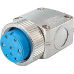 Jaeger 6 Way Cable Mount MIL Spec Circular Connector Plug, Socket Contacts, MIL-DTL-5015