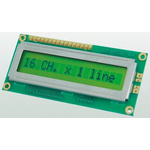 Displaytech 161A-BA-BC Alphanumeric LCD Display, Yellow on Green, 1 Row by 16 Characters, Reflective