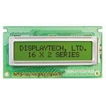 Displaytech 162B-BC-BC Alphanumeric LCD Display, Yellow on Green, 2 Rows by 16 Characters, Transflective