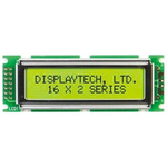 Displaytech 162D-BC-BC Alphanumeric LCD Display, Yellow on Green, 2 Rows by 16 Characters, Transflective