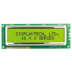 Displaytech 162F-FC-BC-3LP Alphanumeric LCD Display, Black on White, 2 Rows by 16 Characters, Transflective