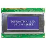 Displaytech 164A-BC-BC Alphanumeric LCD Display, Yellow on Green, 4 Rows by 16 Characters, Transflective