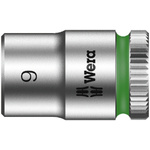 Wera 9mm Hex Socket With 1/4 in Drive , Length 23 mm