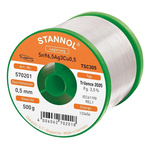 Stannol 0.5mm Wire Lead Free Solder, +217°C Melting Point