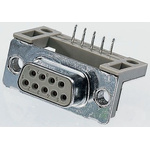 Provertha TMC 9 Way Right Angle Through Hole D-sub Connector Socket, 2.84mm Pitch, with 4-40 UNC inserts, Guide Frame