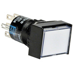 Idec Double Pole Double Throw (DPDT) Latching White LED Push Button Switch, IP65, 24 x 18mm, Panel Mount, 250V