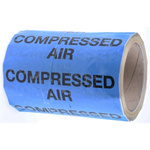 RS PRO Blue PP, Vinyl Pipe Marking Tape, text Compressed Air, Dim. W 150mm x L 33m