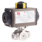 RS PRO Double Acting Actuator Valve Stainless Steel 3 Way, 1/2in Pipe Size