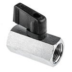 RS PRO Chrome Plated Brass Line Mounting Hydraulic Ball Valve G 3/8