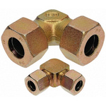 Parker Steel Zinc Plated Hydraulic Elbow Compression Tube Fitting, W10LCF