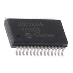 Microchip ENC28J60-I/SS, Ethernet Controller, 10Mbps MII, MIIM, Serial-SPI, 3.3 V, 28-Pin SSOP