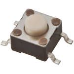 Button Tactile Switch, Single Pole Single Throw (SPST) 50 mA @ 24 V dc 1.41mm