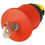 Eaton Mushroom Red Emergency Stop Push Button - Key Release, M22 Series, 22mm Cutout, Round