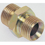 Parker Hydraulic Straight Threaded Adapter 16-12HMK4S, Connector A G 3/4 Male, Connector B G 1 Male