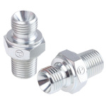 Parker Hydraulic Straight Threaded Adapter 4-4F3MK4S, Connector A G 1/4 Male, Connector B R 1/4 Male