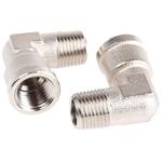 Legris Brass Nickel Plated Hydraulic Elbow Threaded Adapter, 0913 00 10, R 1/8 Male G 1/8 Female