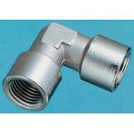 Legris Brass Nickel Plated Hydraulic Elbow Threaded Adapter, 0912 00 17, G 3/8 Female G 3/8 Female