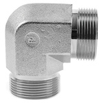 Parker Steel Zinc Plated Hydraulic Elbow Threaded Adapter, 4EMK4S, G 1/4 Male G 1/4 Male