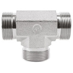 Parker Hydraulic Tee Threaded Adapter 4JMK4S, Connector A G 1/4 Male Connector B G 1/4 Male