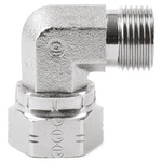 Parker Steel Zinc Plated Hydraulic Elbow Threaded Adapter, 12C6MK4S, G 3/4 Male G 3/4 Female