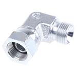 Parker Steel Zinc Plated Hydraulic Elbow Threaded Adapter, 6C6MK4S, G 3/8 Male G 3/8 Female
