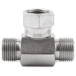 Parker Hydraulic Tee Threaded Adapter 4S6MK4S, Connector A G 1/4 Male Connector B G 1/4 Male