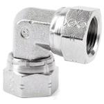 Parker Steel Zinc Plated Hydraulic Elbow Threaded Adapter, 6E6MK4S, G 3/8 Female G 3/8 Female