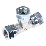 Parker Hydraulic Tee Threaded Adapter 4J6MK4S, Connector A G 1/4 Female Connector B G 1/4 Female