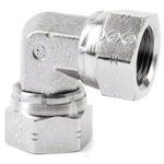 Parker Steel Zinc Plated Hydraulic Elbow Threaded Adapter, 16E6MK4S, G 1 Female G 1 Female