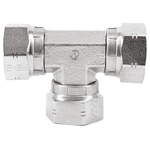 Parker Hydraulic Tee Threaded Adapter 8J6MK4S, Connector A G 1/2 Female Connector B G 1/2 Female