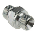 Parker Hydraulic Straight Threaded Adapter 6HMK4S, Connector A G 3/8 Male, Connector B G 3/8 Male