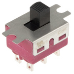 Panel Mount Slide Switch Double Pole Double Throw (DPDT) Latching 6 A @ 120 V ac, 6 A @ 28 V dc Slide