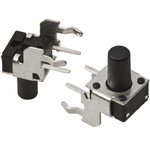 Black Button Tactile Switch, Single Pole Single Throw (SPST) 50 mA @ 24 V dc 5.74mm