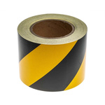 RS PRO Black/Yellow High Visibility Tape 100mm x 25m