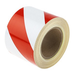 RS PRO Red/White High Visibility Tape 100mm x 25m