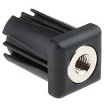 RS PRO Square Nylon Threaded Tube Insert, M10, 30 x 30 x 43mm, 500kg Static Load Capacity