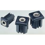 8888 Square Nylon Threaded Tube Insert, M10, 30 x 30 x 43mm, 500kg Static Load Capacity