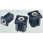 8888 Square Nylon Threaded Tube Insert, M20, 40 x 40 x 42mm, 1000kg Static Load Capacity