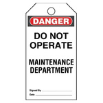 5 x 'Do Not Operate Maintenance Department' Lockout Tag, 3 x 3 x 5.75in