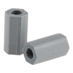 HS 4 3, 9.5mm High CPVC Hex Spacer 4.8mm Wide, with 2.6mm Bore Diameter for M2.5, No.4 Screw